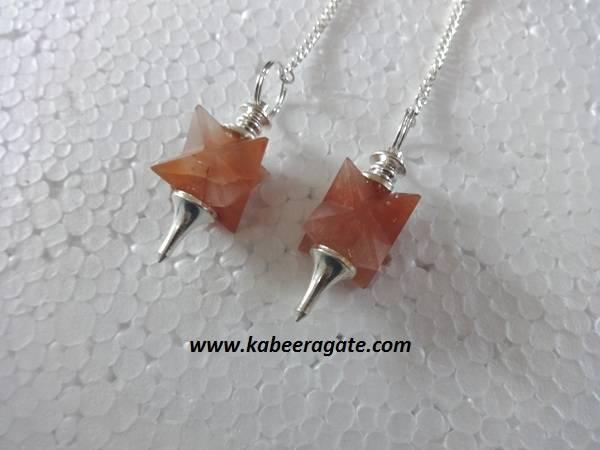 Orange Aventurine Merkaba Mounted Pendulums