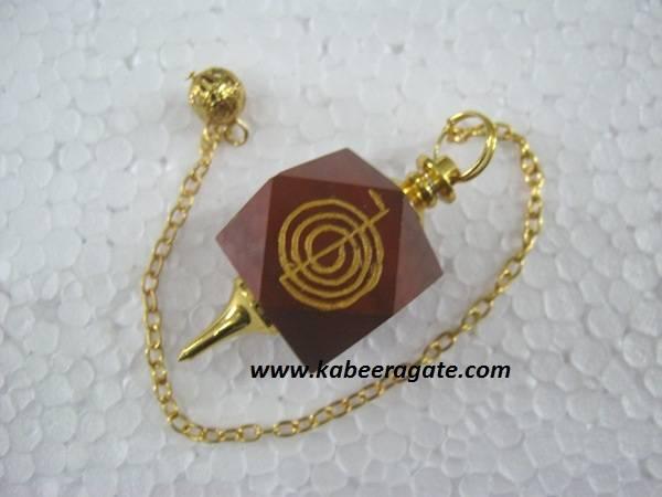 Red Jasper Cho Ko Reiki Pendulum (Golden)