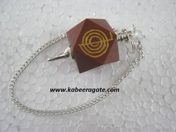 Red Jasper Cho Ko Reiki Pendulum (Silver)