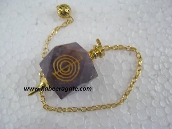 Amethyst Cho Ko Reiki Pendulum (Golden)