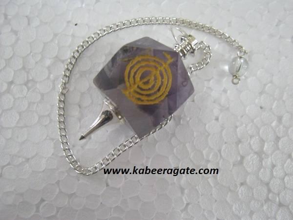 Amethyst Cho Ko Reiki Pendulum (Silver)