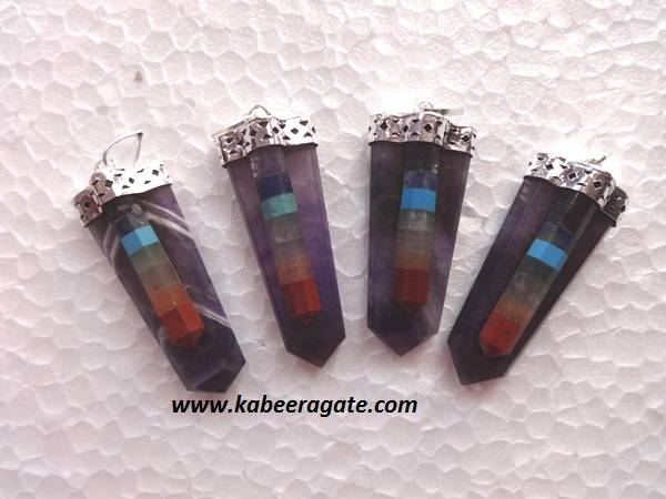 Bonded Chakra with Amethyst Flat Pendents