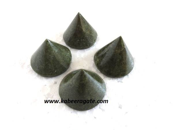 Grass Jasper Conical Pyramids