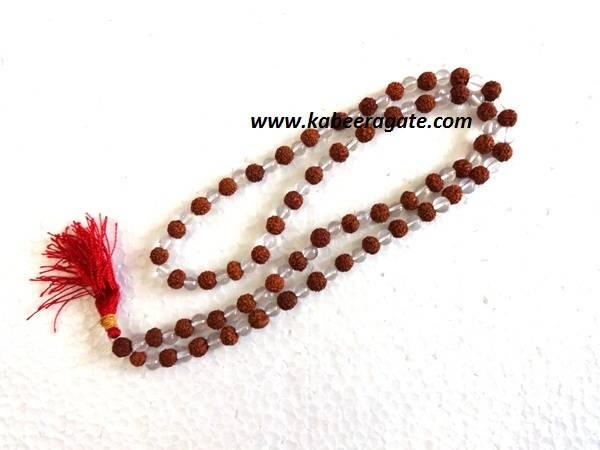 Crystal Quartz Rudraksha Jap Mala