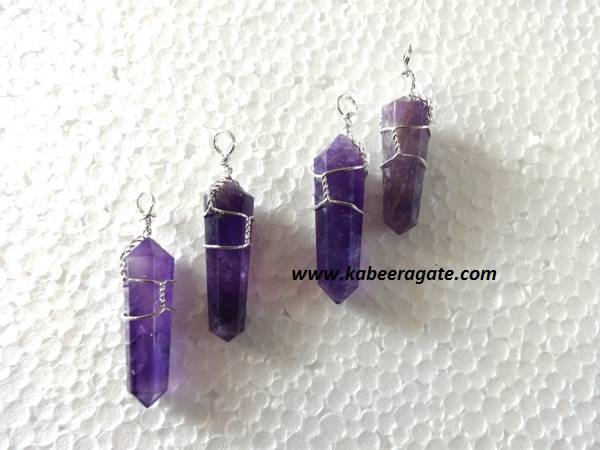 Amethyst Double Point Wire Wrap Pendents