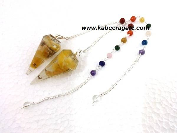 Yellow Aventurine Orgone Pendulums With Chakra Chain
