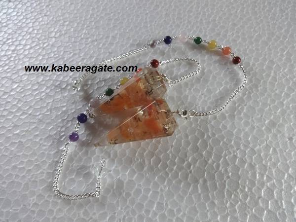 Orange Aventurine Orgone Pendulums With Chakra Chain