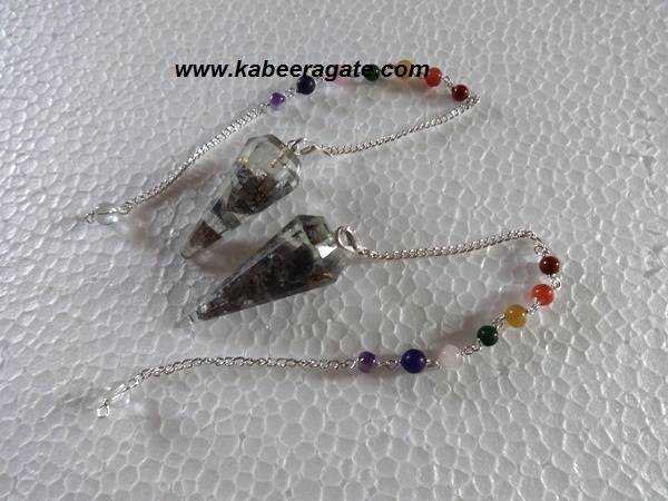 Blue Aventurine Orgone Pendulums With Chakra Chain