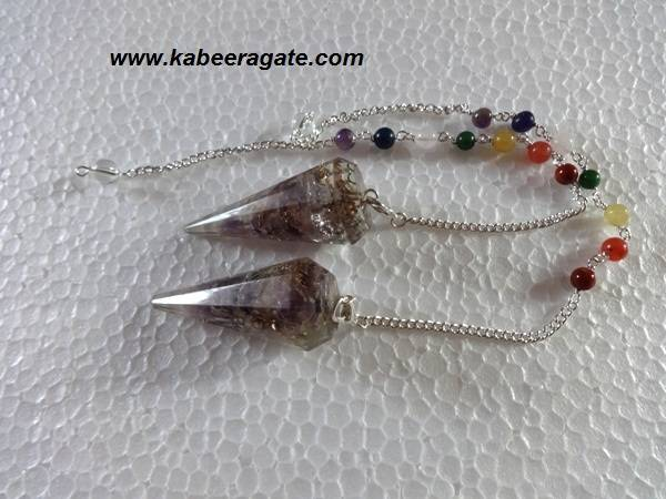Amethyst Orgone Pendulums With Chakra Chain