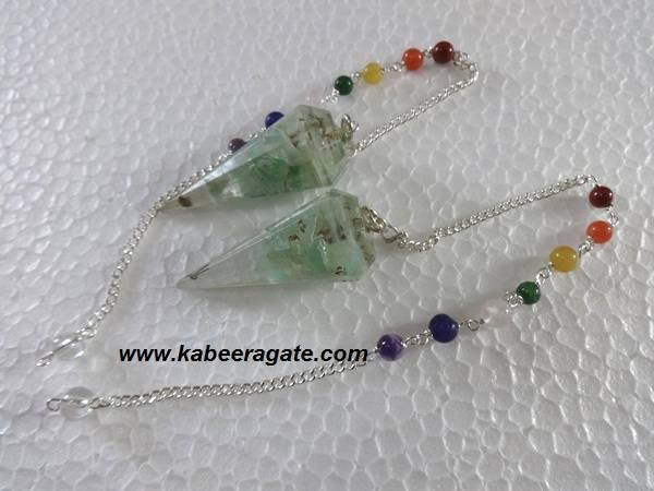Green Aventurine Orgone Pendulums With Chakra Chain