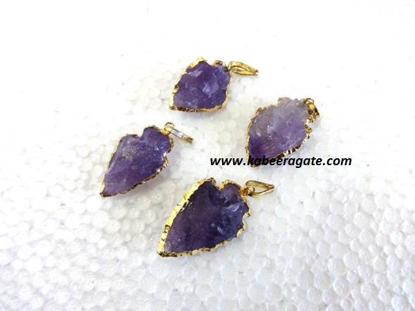 Golden Electroplating Amethyst Arrowheads