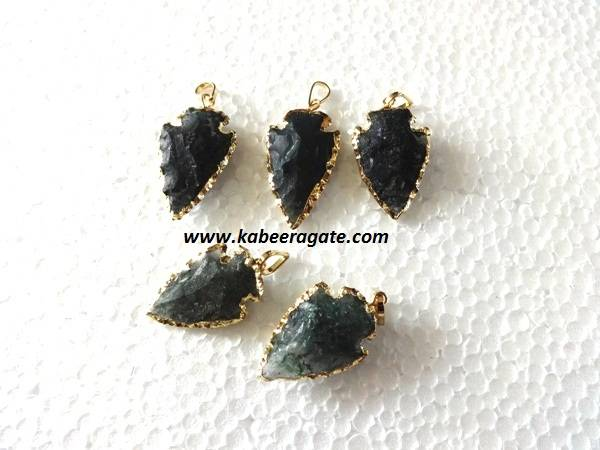 Golden Electroplating Moss Agate Arrowheads