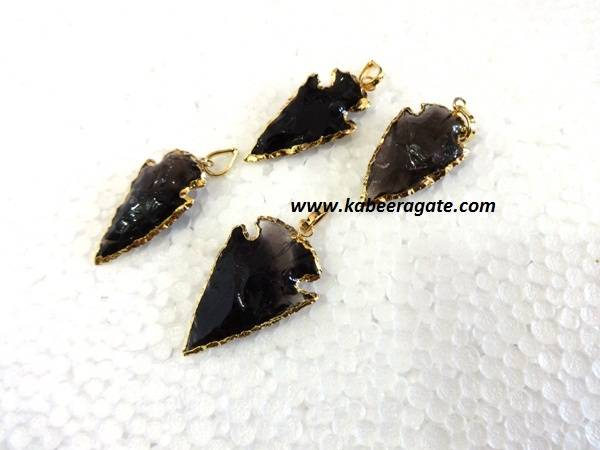 Golden Electroplating Black Obsidean Arrowheads