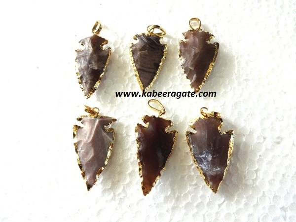 Golden Electroplating Fancy Jasper Arrowheads