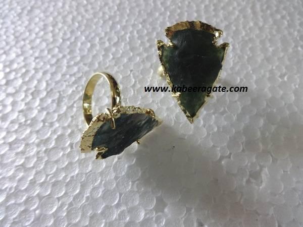 Moss Agate Arrowheads Rings
