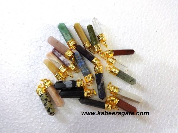 Assorted Gemstone Pencil Pendents (Golden)