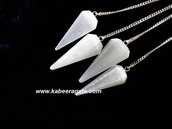 Selenite Faceted Pendulums