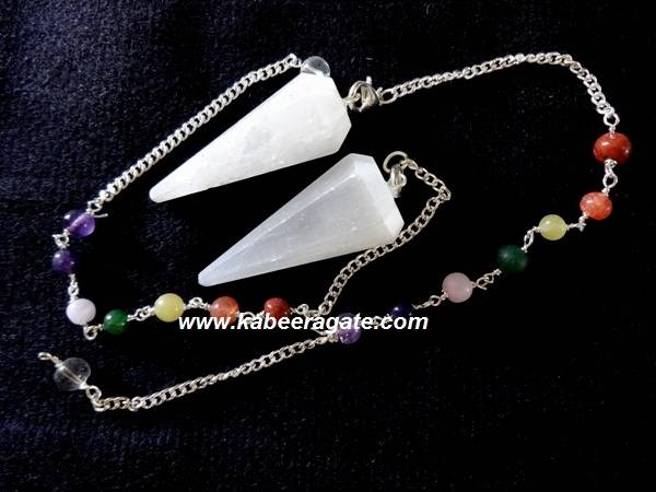 Selenite Faceted Pendulum with Chakra Chain