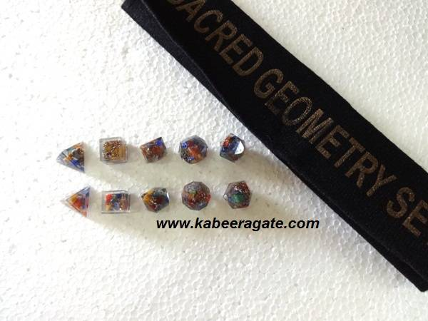 Chakra Orgone Geometry Set (5pcs) with Valvet Pouch