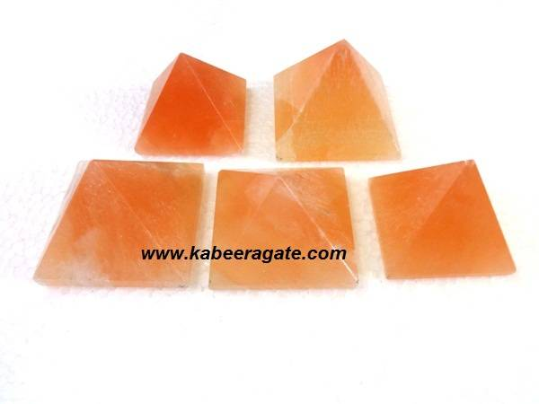 Orange Selenite Pyramids