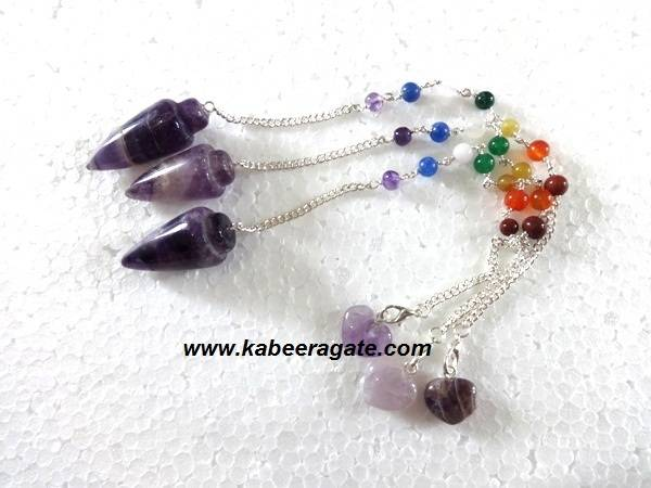 Amethyst Bullet Pendulum with Chakra Chain & Heart Charms