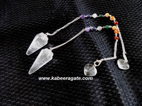 Crystal Quartz Bullet Pendulum with Chakra Chain & Heart Charms