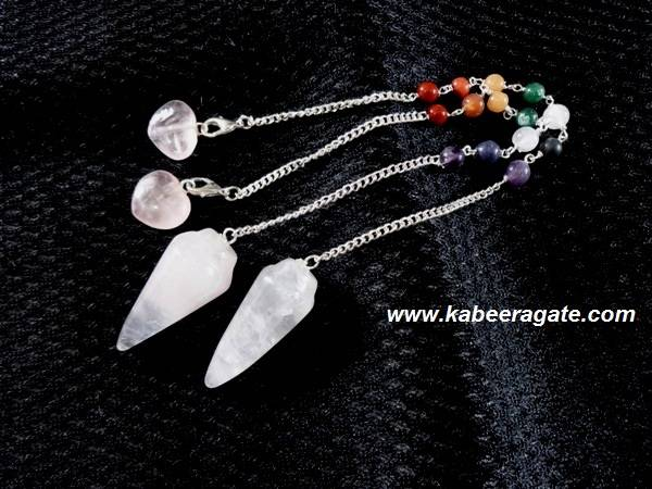 Rose Quartz Bullet Pendulum with Chakra Chain & Heart Charms