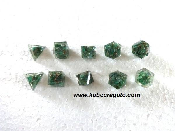 Green Aventurine Orgone Geometry Set (5pcs)