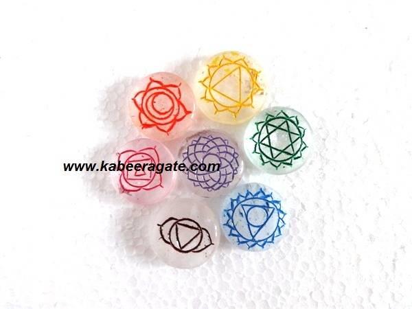 Colorful Crystal Quartz Round Chakra Set