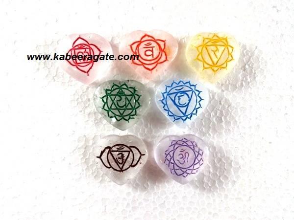 Colorful Crystal Quartz Heart Shape Sanskrit Set