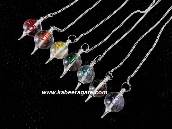Crystal Quartz Colourful Ball Sanskrit Pendulum Set (Silver)