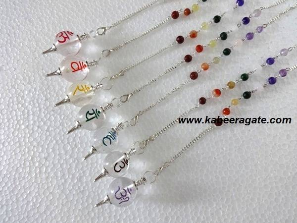 Crystal Quartz Colourful Ball Sanskrit Pendulum Set with Chakra Chain