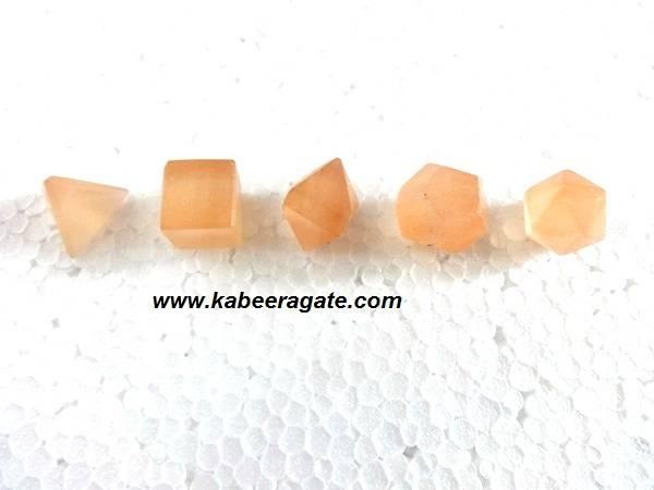Orange Selanite 5pcs Geometry Set