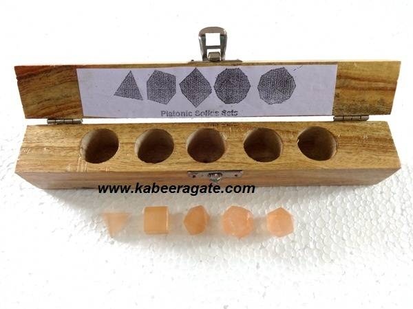 Orange Selanite 5pcs Geometry Set With Box