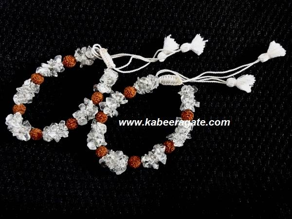 Crystal Quartz Chips & Rudraksha Bracelets With Cotton Strings