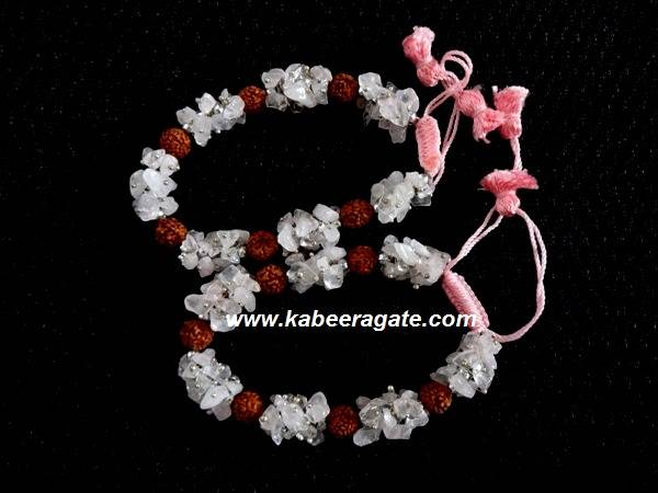 Rose Quartz Chips & Rudraksha Bracelets With Cotton Strings