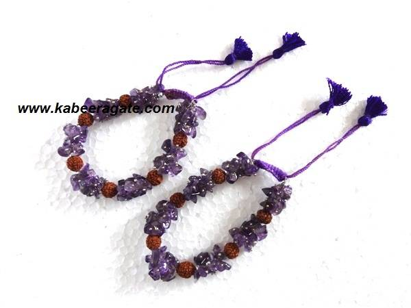 Amethyst Chips & Rudraksha Bracelets With Cotton Strings