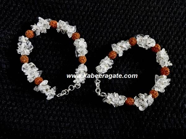 Crystal Quartz Chips & Rudraksha Bracelets With Strings Bracelets