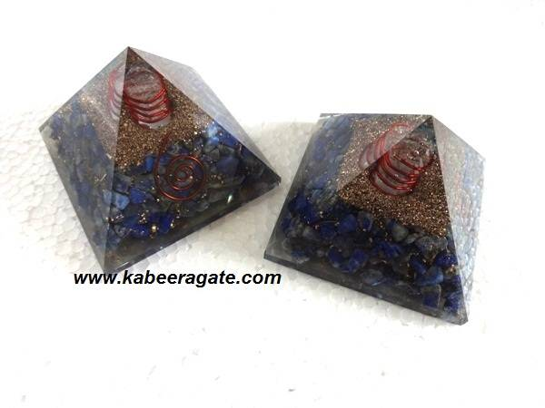 Lapiz Lazuli Orgone Pyramids With Quartz Point