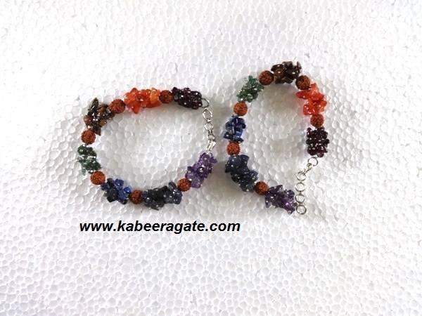 Chakra Chips & Rudraksha Bracelets With Strings Bracelets