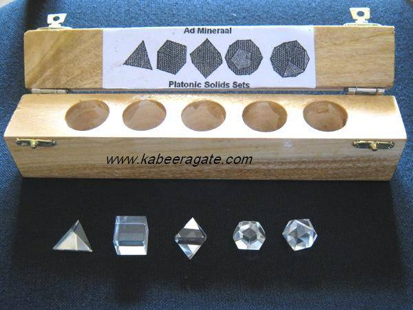 Crystal Quartz 5pcs Geometry Set with Wooden Box
