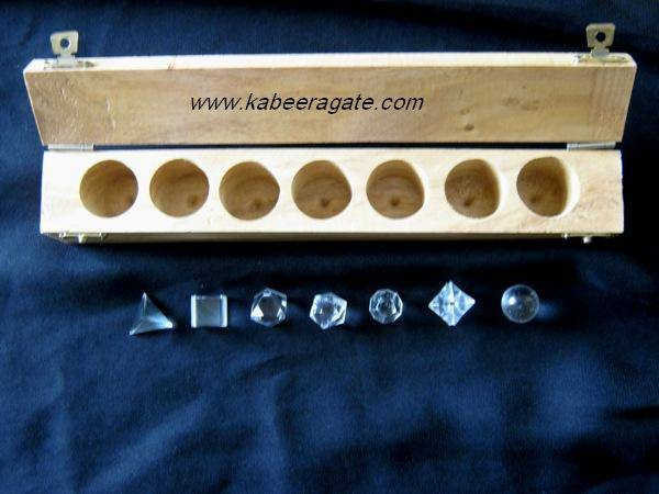 Crystal Quartz 7pcs Geometry Set with Wooden Box