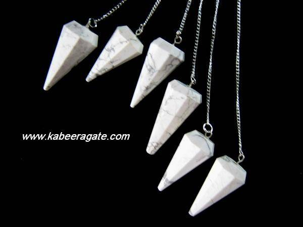 Howlite Faceted Pendulums