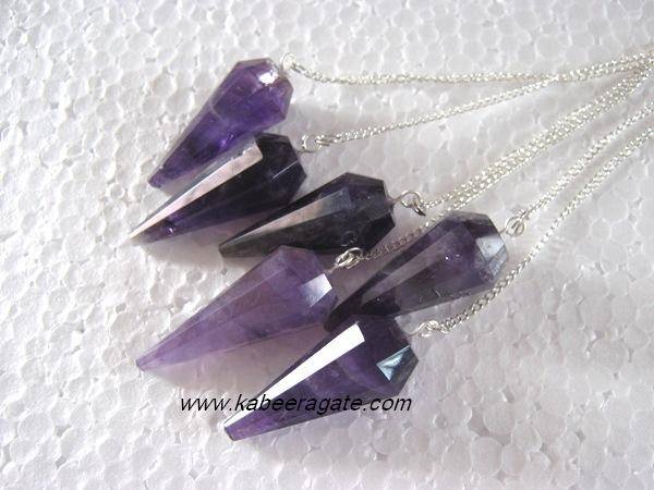 Amethyst Faceted Pendulums