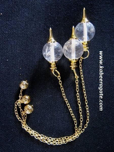 Crystal Quartz Ball Pendulum (Golden)