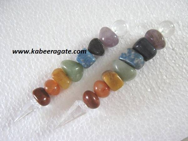 Chakra Tumble Healing Stick with Crystal Cone