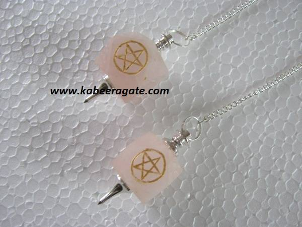 Rose Quartz Hexagon Pentagram Pendulums (Silver)