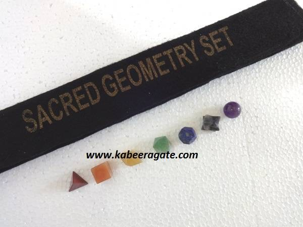 Seven Chakra Geometry Sets with Valvet Pouch