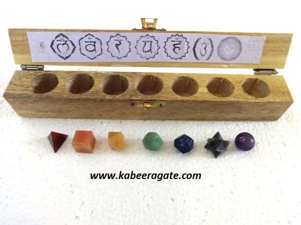 Seven Chakra Geometry Sets with Wooden Box