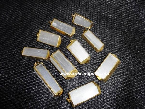 Electroplated Selanite Pendents